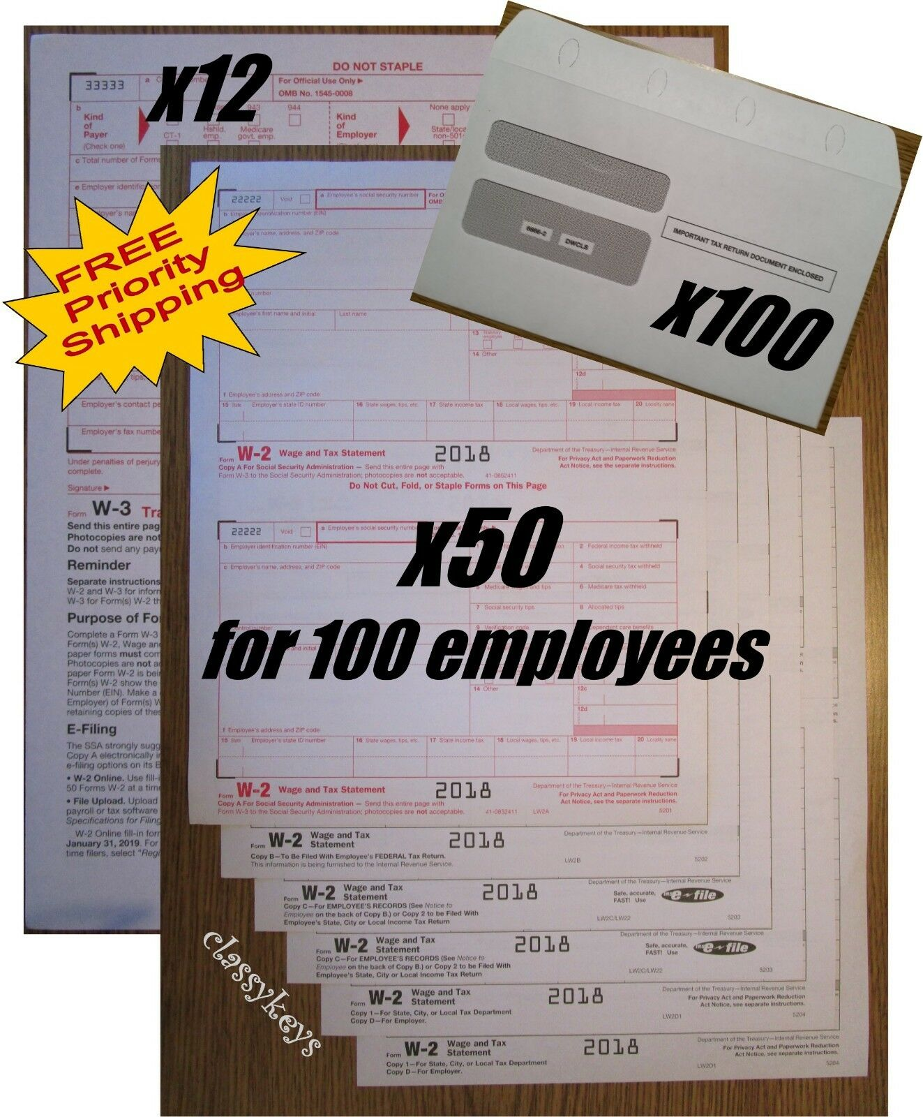 2018 IRS TAX FORMS KIT   W-2 Wage Stmt 6-pt LASER 100employees+envelopes+(12)W-3