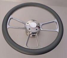 "GRAY CARBON FIBER Half Wrap 14"" BILLET Steering wheel + adaptor + Horn Button"