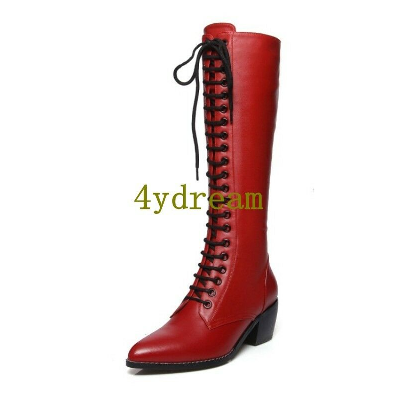 Women Mid Calf Boots Lace Lace Lace Ups Side Zipper Pointy Toe Goth Chunky Low Heel shoes f31a68