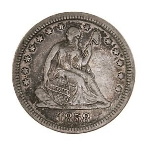 Raw-1858-Seated-Liberty-25C-Ungraded-Uncertified-US-Mint-Silver-Quarter-Coin