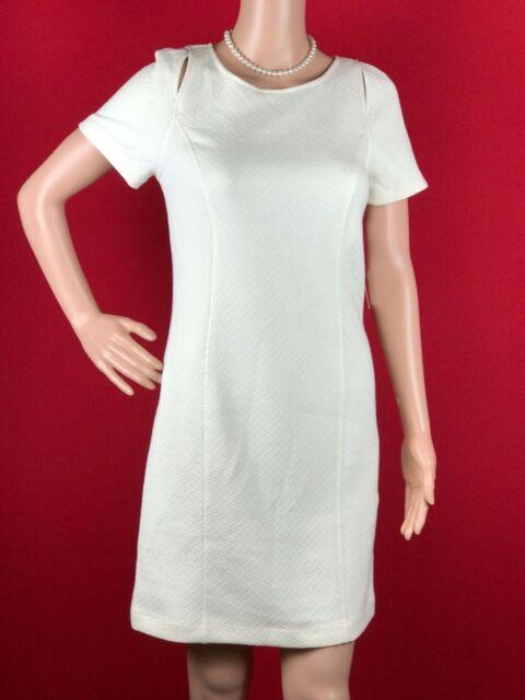 Kensie 8674 Size Medium M Womens White Textured Sheath Dress Cutout