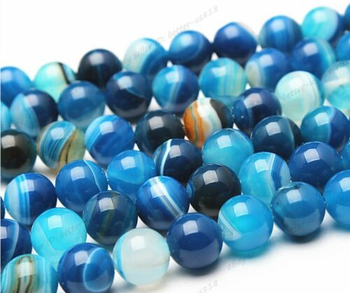"""Wholesale Natural Color Stripe Agate Onyx Gems Round Loose Beads Stone 15.5/"""""""