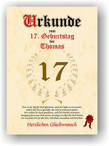 Geschenkidee-zum-17-Geburtstag-Urkunde-Geburtstagsurkunde-Geburtstagskarte-NEU
