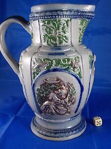 Historicismo Jarra Gres Porcelánico Westerwald Relieve Bierkanne Um 1890