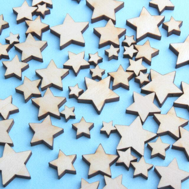 50 PCS MIXED MINI WOODEN STARS CUTE DIY DECOR ART IDEAL CARD MAKING (WHOLESALE)