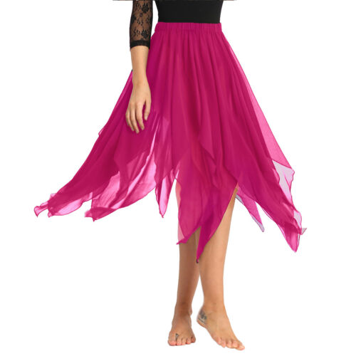 Women/'s Adult Chiffon Hi-Low Asymmetric Belly Dance Skirt Lyrical Dance Costumes