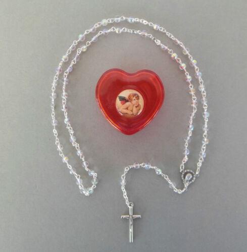 Rosenkranz schimmernde Perle,Schatulle Herz Engel Kommunion Mädchen AR 628-10