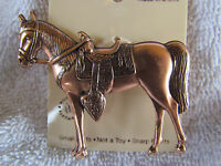 Vintage Copper Finish Horse And Saddle Pin Brooch Rodeo Dressage 5362c