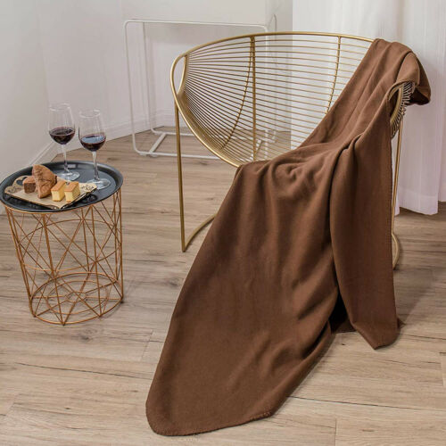 Flannel Fleece Throw Blanket 70 x 50 Sofa Couch Home Bed Chair Warm Cozy Brown