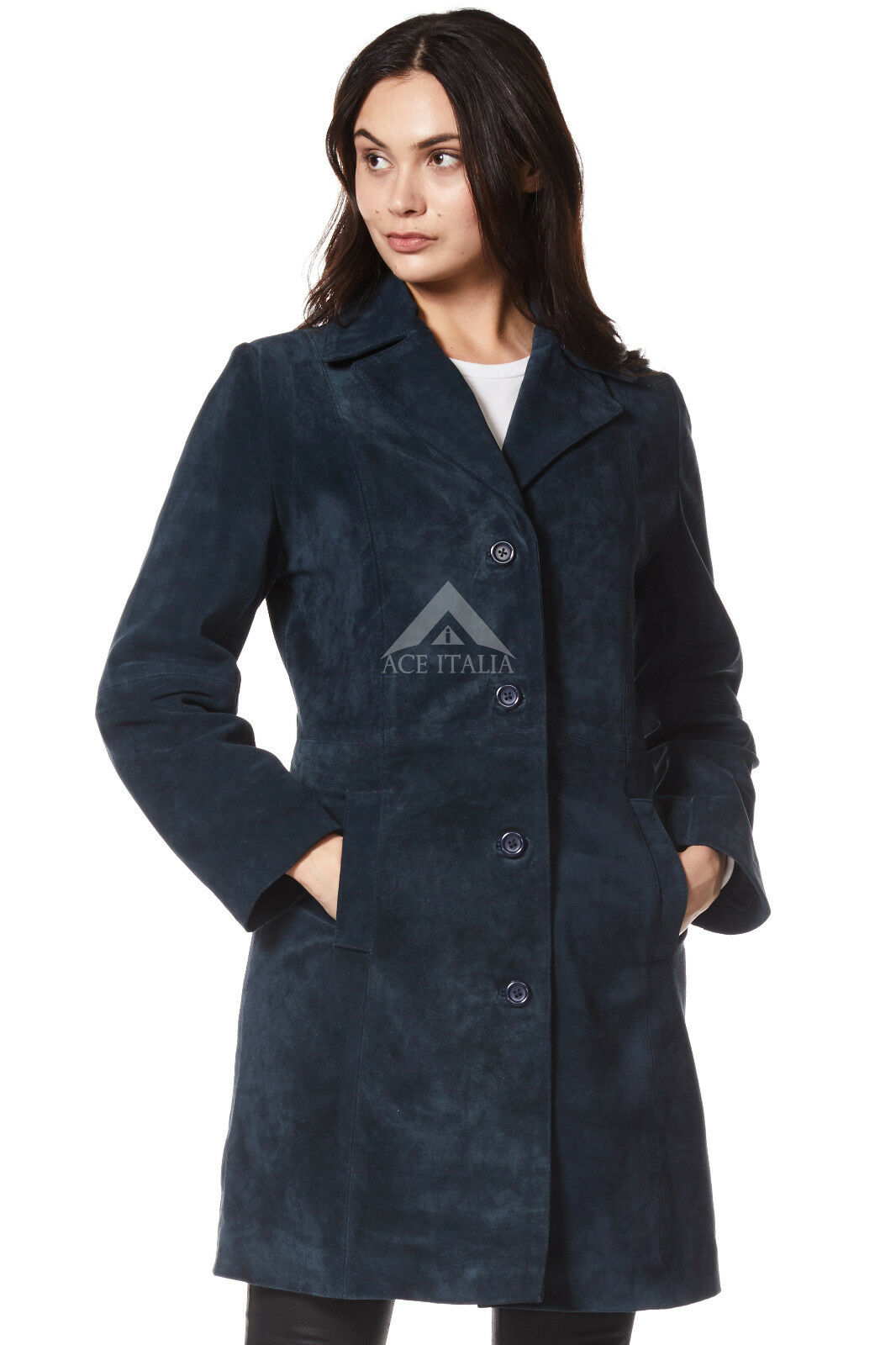 TRENCH Ladies Real Suede Leather Coat Navy Clasic Knee-Length Designer Coat 3457