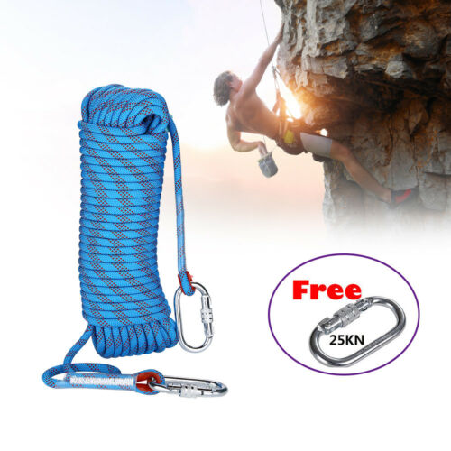 20M 12KN Rock Climbing Rappelling Abseiling Rope Cords Carving Rescue Tatical Q1