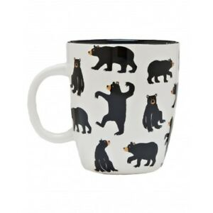 Hatley-Ceramic-BLACK-BEARS-ON-NATURAL-Coffee-Mug-or-Tea-Cup