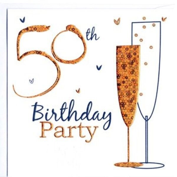 50th Birthday Party Invitation Cards 6 Card Invitations ENVLP Champagne Glass On
