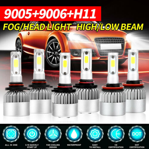 9006 Combo 9005 H11 CREE LED Headlight Bulb Kits 5400W 880000LM Hi Low 6000K