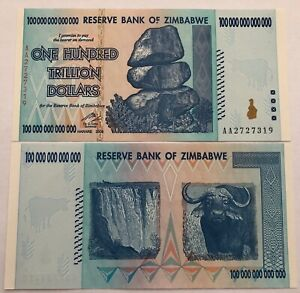 ZIMBABWE BUNDLE 100 X 20 BILLION USED BANKNOTE BUNDLE TRILLIONS PACK XF