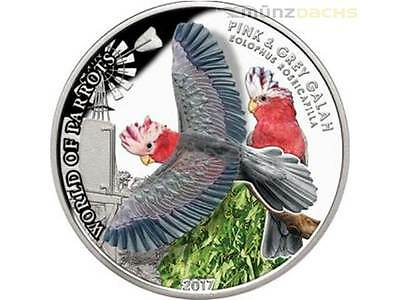 PINK GREY GALAH 2017 Cook Islands $5 Silver Proof 3D World of Parrots