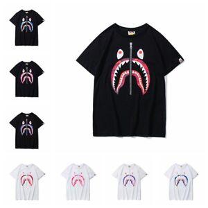 Bape-A-Bathing-Ape-T-shirt-Tee-Zipper-Shark-Jaw-Men-039-s-Top-Crew-Neck-Short-Sleeve