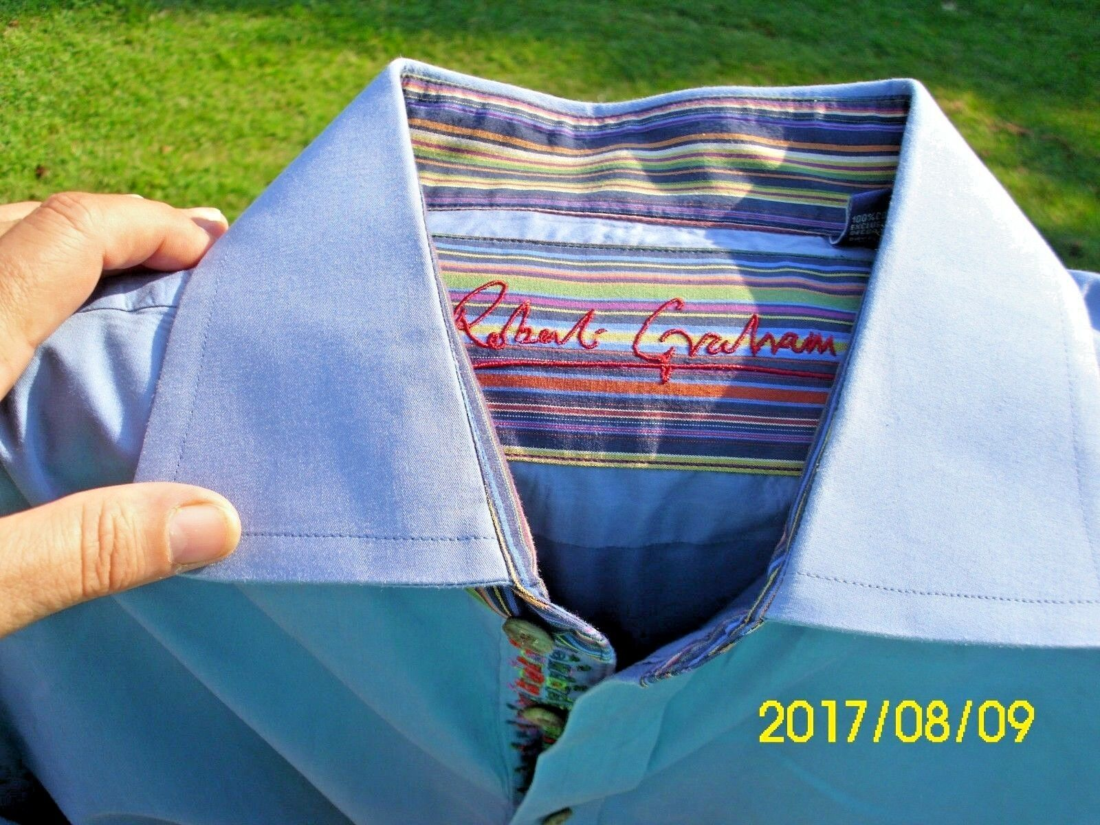 Original Robert Graham Carolina Blau Button Down Dress Shirt Größe XL