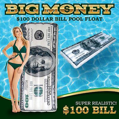 "Summer Reversible Pool Float $100 Bill 84/"" Giant Size Beach River Lake Raft New"