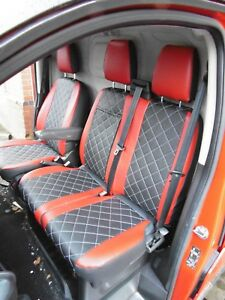 DOUBLE CITROEN DISPATCH ALL MODELS DELUXE RED PATCH VAN SEAT COVERS SINGLE