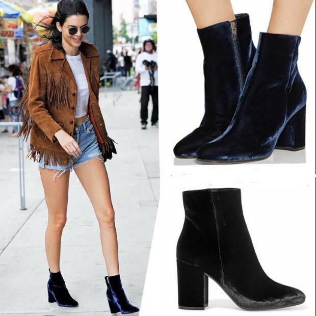 Womens Casual Round Toe Block Heels Velvet Side Zip shoes Ankle Boots Warm V993