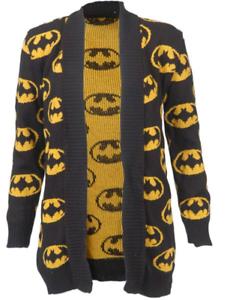 Ladies Batman Nero//Giallo Cardigan Aperto