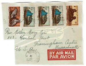 New-Caledonia-Airmail-Cover-to-USA-Front-Only-Pasted-to-Album-Page-Lot-101717