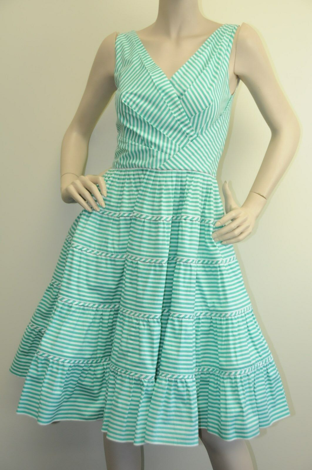 New Oscar de la Renta Capri Green White Striped S13 Summer DRESS 2