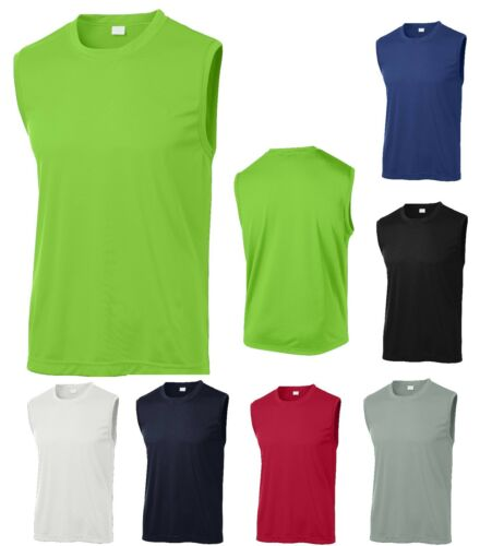 WICKING MEN/'S SLEEVELESS T-SHIRT BREATHABLE WORKOUT MUSCLE S-4XL RUNNING