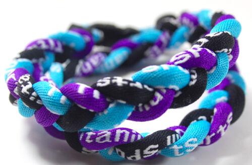 "SALE 18/"" 3 Rope Twist Titanium Sport Necklace Light Blue Black Purple Tornado"