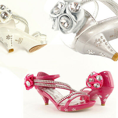 Kids Dress High Heels Flower Rhinestones Sandals Sz 9-4 / Girls Close-Back Shoes