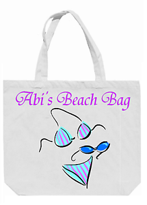 Add a name free Beach Bag Personalised Bikini Shopping Bag Overnight Bag