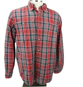 Duluth-Trading-Co-Men-039-s-Free-Swingin-039-Flannel-Shirt-Heavy-Red-Gray-Plaid-Large