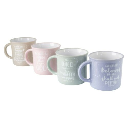 16OZ PASTEL SPECKLE CAMPER SHAPE MUG WITH WHITE BIBLE VERSES