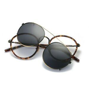Polarized-Sunglasses-Clip-on-Vintage-Eyeglass-Frames-Driving-Round-UV-Classic-Rx