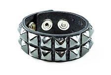 Gun Metal Pyramid Stud Leather Punk Goth Club Rockabilly 2 Row Bracelet