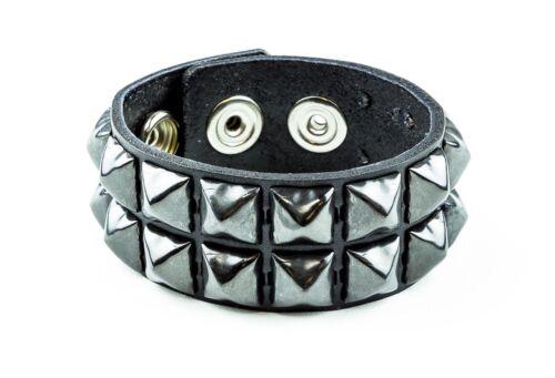 Pistolet métal Pyramide Clous Cuir Punk Goth Club Rockabilly 2 Row Bracelet