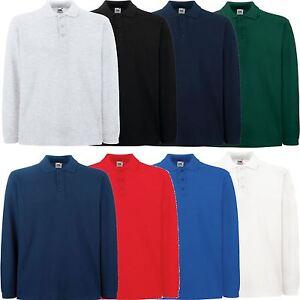 Fruit-of-the-Loom-Premium-de-Algodon-Manga-Larga-Pique-Polo-Camiseta-Muchos-Colores