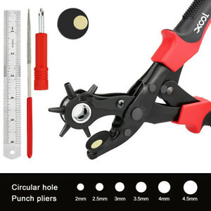 6 Sized Heavy Duty Strap Leather Hole Punch Hand Pliers Belt Punches Revolving