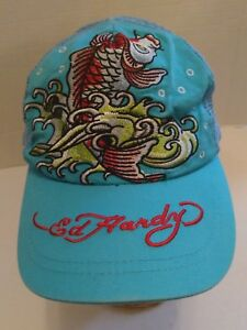 Ed-Hardy-Baseball-Hat-Cap-Embroidered-Mesh-Trucker-Fish-Adjustable-Snapback