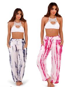 97ec4eb3c35 Ladies South Beach Trousers Wide Leg Viscose Tie Dye Palazzo pants ...