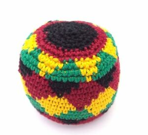 Hacky Sack Boota Bag Crochet Footbag Guatemalan New Rasta Red Yellow