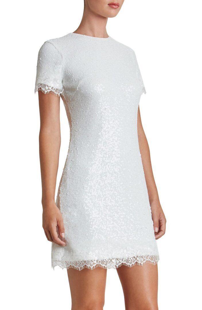 DRESS THE POPULATION 'EMMA' SEQUIN Weiß DRESS MINI DRESS sz S