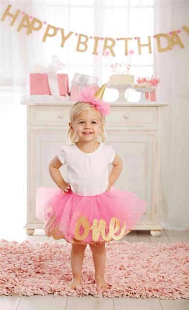 Mud Pie Baby Pink Birthday Girl Princess Tutu Headband Set 12M 2T 3T New 1592055