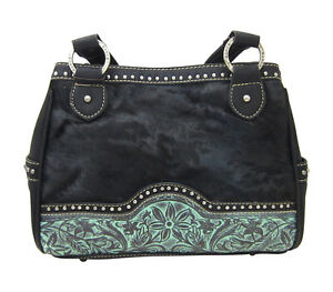 Trinity-Ranch-Genuine-Leather-amp-Real-Calf-Hair-Black-amp-Turquoise-Purse