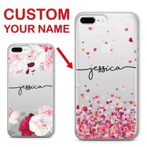 6c48fdba78 Personalized Custom Name Text Floral Soft Clear Phone Case For Apple ...