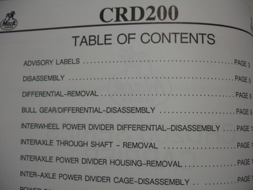 Mack CRD200 Series Carrier Overhaul Service Shop Manual  Pinion  Differential