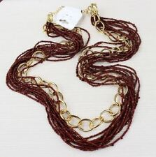 GOLD TONE CHUNKY LARGE LINK CHAIN & GOLDEN BROWN BEAD MULTI-STRAND NECKLACE