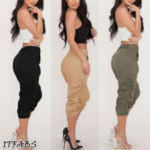 US-Women-Casual-Pencil-Pants-High-Waist-Pockets-3-4-Cargo-Jogger-Slim-Trousers