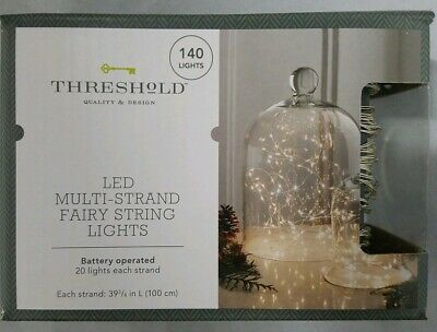 New LED Mulit Strand Fairy String Lights 140 Lights White Silver Wire AA Battery